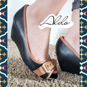 Wedges black and brown sz 5 Aldo heels